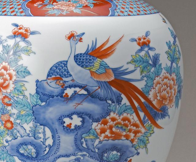 特大花瓶−岩牡丹双鳥文