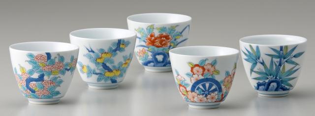 煎茶器−鍋島五種絵変り